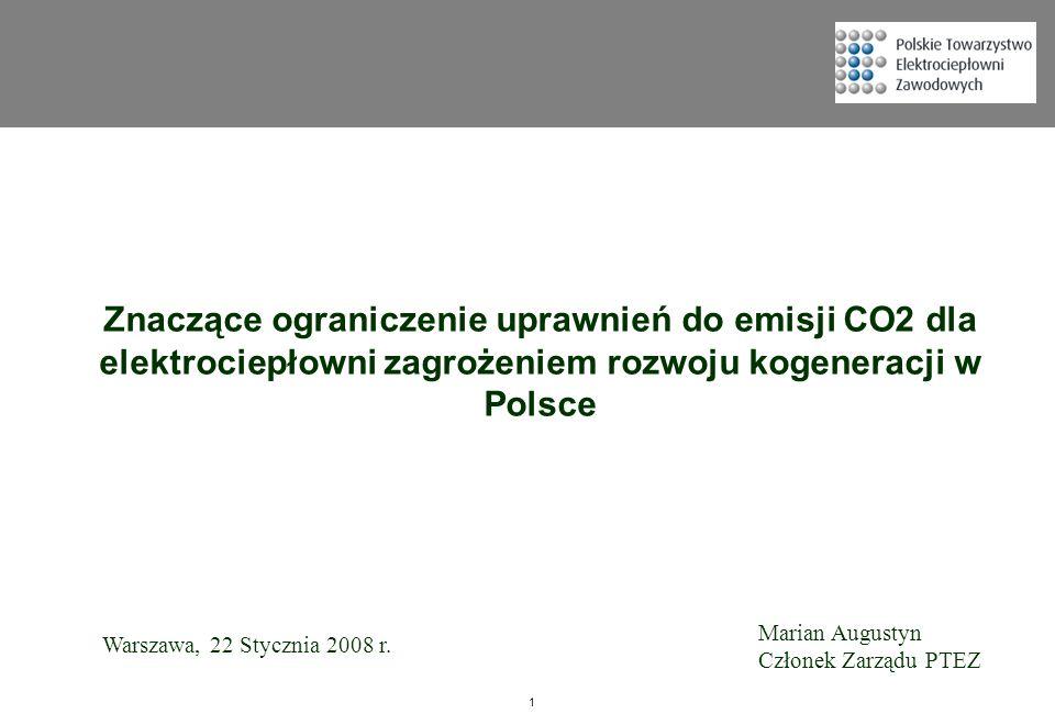 Znaczące ograniczenie uprawnień do emisji CO2 dla elektrociepłowni zagrożeniem rozwoju kogeneracji w Polsce