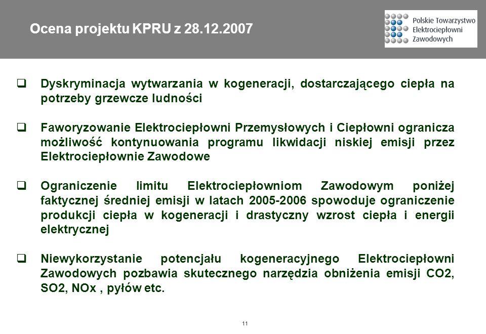 Ocena projektu KPRU z 28.12.2007 Dyskryminacja wytwarzania w kogeneracji, dostarczającego ciepła na potrzeby grzewcze ludności.