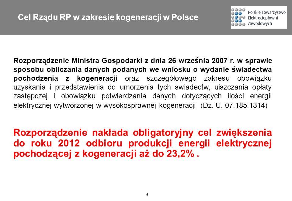 Cel Rządu RP w zakresie kogeneracji w Polsce