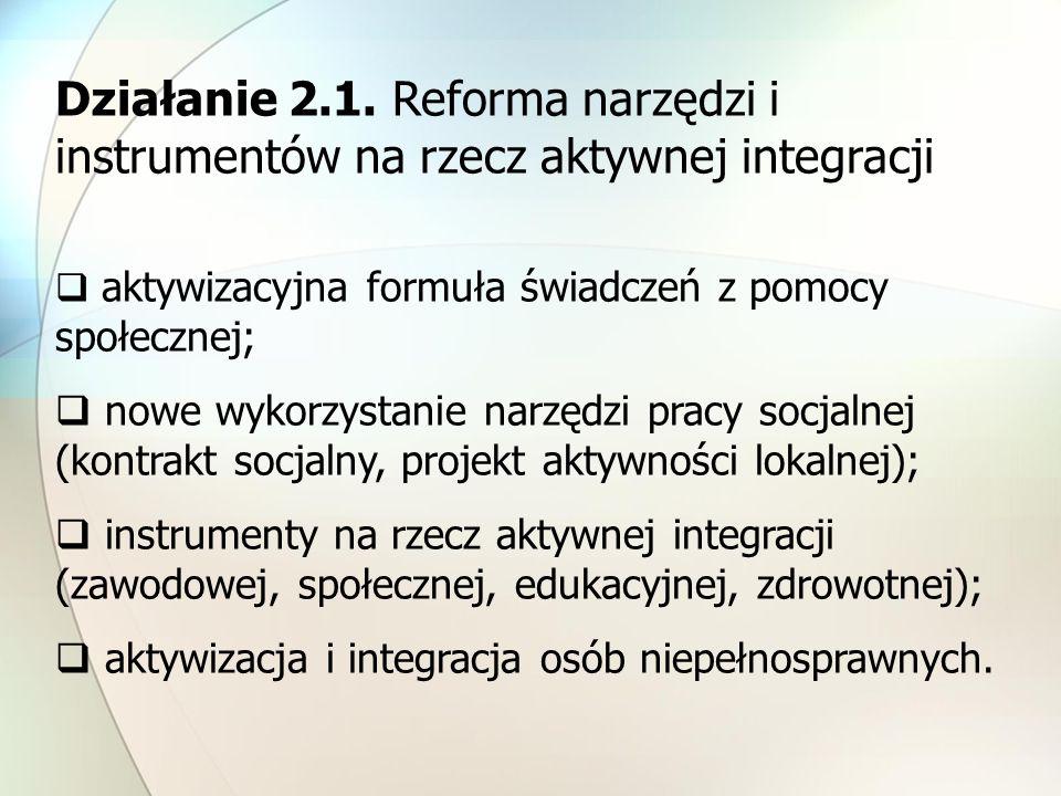 Działanie 2.1. Reforma narzędzi i instrumentów na rzecz aktywnej integracji