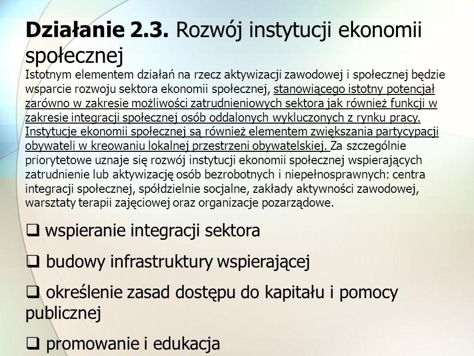 Działanie 2.3. Rozwój instytucji ekonomii społecznej