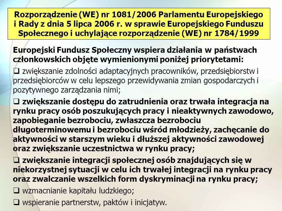 Rozporządzenie (WE) nr 1081/2006 Parlamentu Europejskiego i Rady z dnia 5 lipca 2006 r. w sprawie Europejskiego Funduszu Społecznego i uchylające rozporządzenie (WE) nr 1784/1999