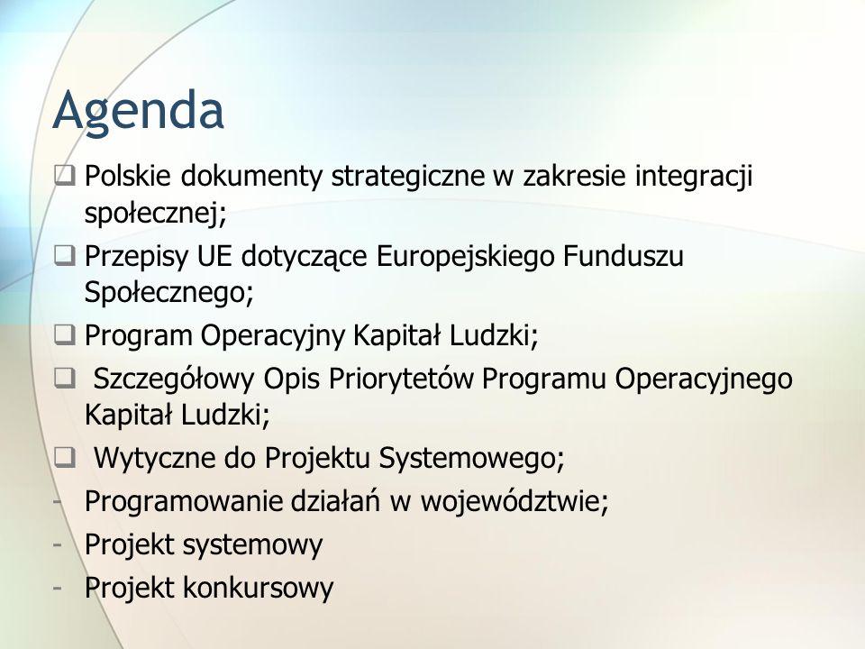 AgendaPolskie dokumenty strategiczne w zakresie integracji społecznej; Przepisy UE dotyczące Europejskiego Funduszu Społecznego;