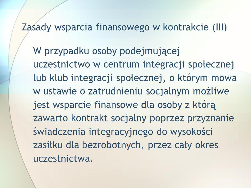 Zasady wsparcia finansowego w kontrakcie (III)