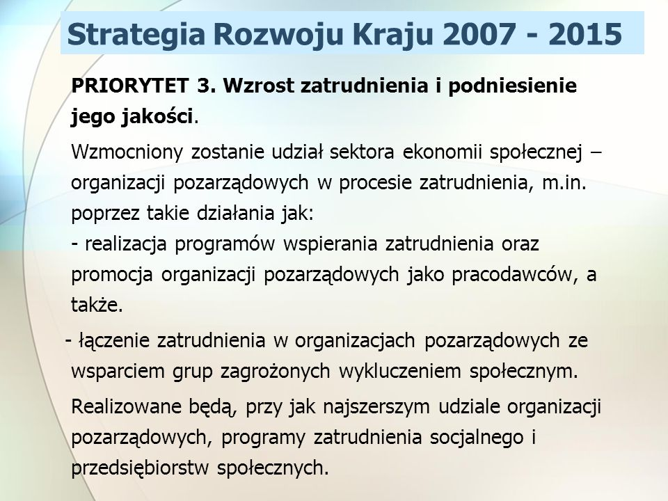 Strategia Rozwoju Kraju 2007 - 2015
