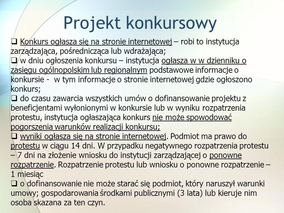 Projekt konkursowyKonkurs ogłasza się na stronie internetowej – robi to instytucja zarządzająca, pośrednicząca lub wdrażająca;