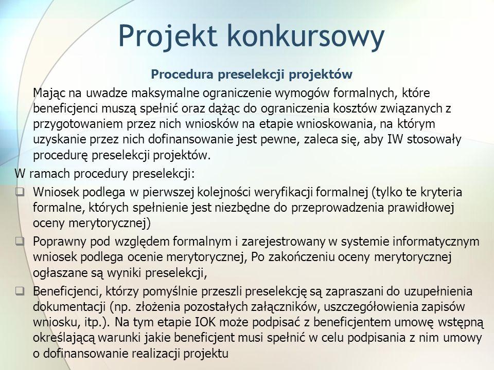 Procedura preselekcji projektów