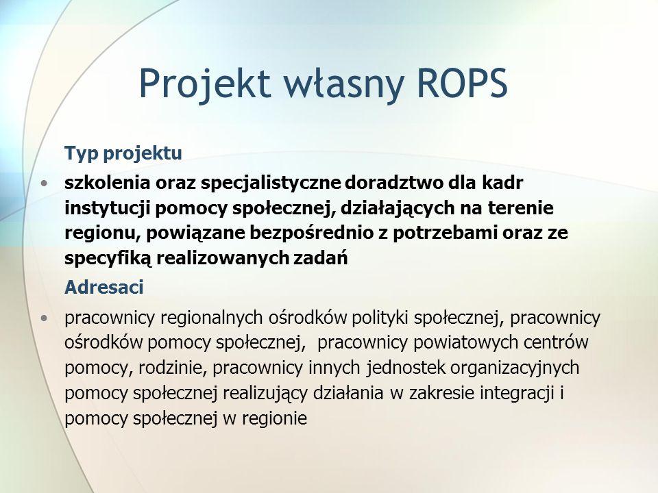 Projekt własny ROPS Typ projektu.