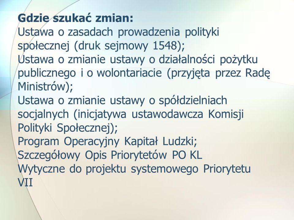 Gdzie szukać zmian: Ustawa o zasadach prowadzenia polityki społecznej (druk sejmowy 1548); Ustawa o zmianie ustawy o działalności pożytku publicznego i o wolontariacie (przyjęta przez Radę Ministrów); Ustawa o zmianie ustawy o spółdzielniach socjalnych (inicjatywa ustawodawcza Komisji Polityki Społecznej); Program Operacyjny Kapitał Ludzki; Szczegółowy Opis Priorytetów PO KL Wytyczne do projektu systemowego Priorytetu VII