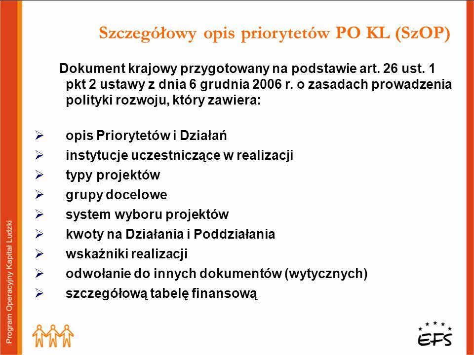 Szczegółowy opis priorytetów PO KL (SzOP)