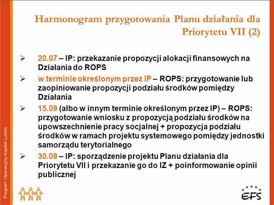 Harmonogram przygotowania Planu działania dla Priorytetu VII (2)