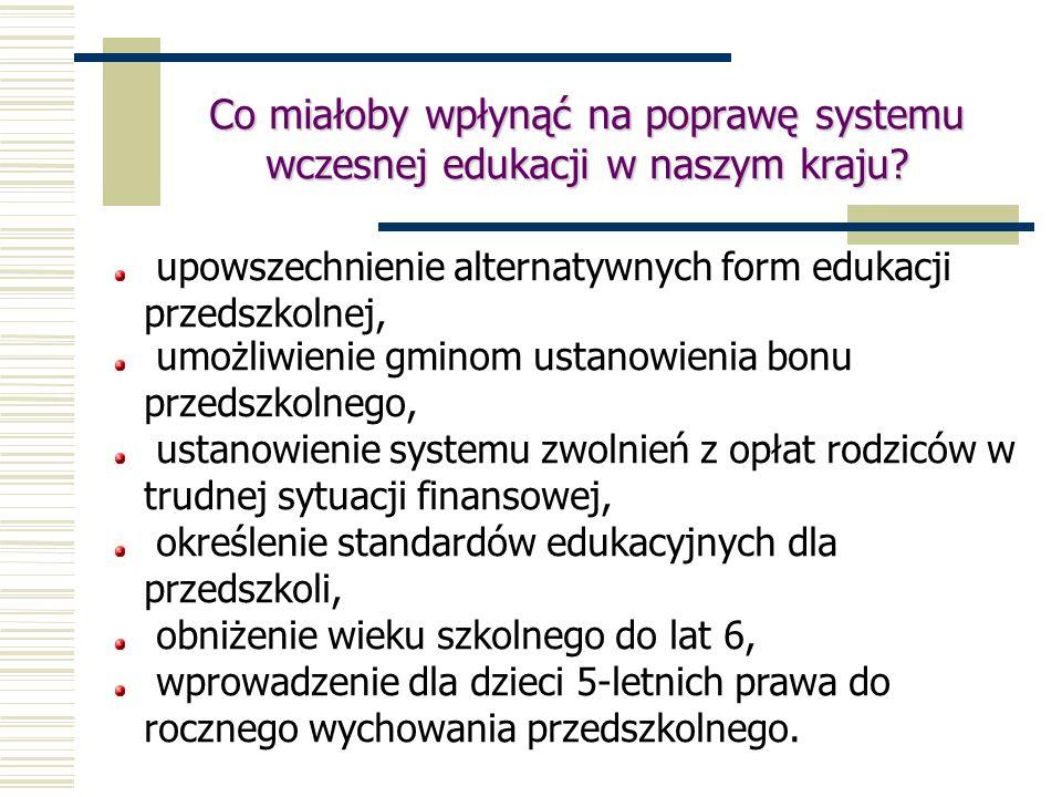 Co miałoby wpłynąć na poprawę systemu wczesnej edukacji w naszym kraju