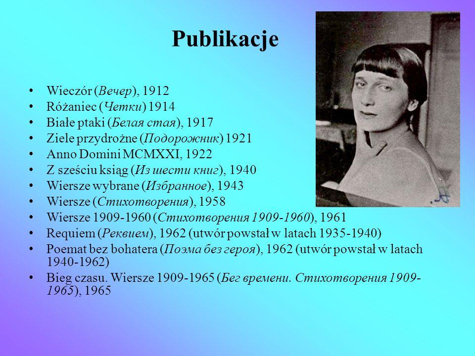 Publikacje Wieczór (Вечер), 1912 Różaniec (Четки) 1914