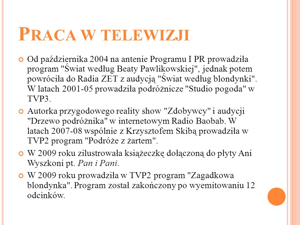 Praca w telewizji