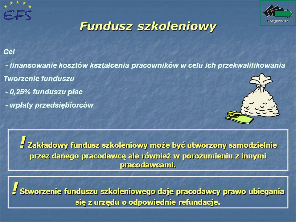 Fundusz szkoleniowy Cel. - finansowanie kosztów kształcenia pracowników w celu ich przekwalifikowania.