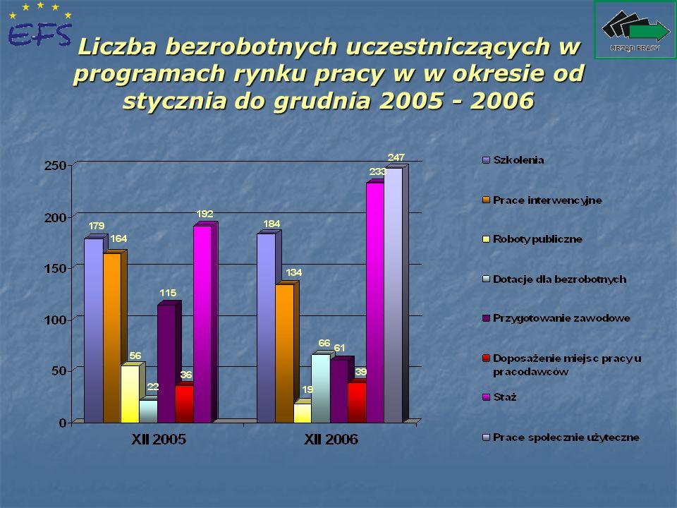 Liczba bezrobotnych uczestniczących w programach rynku pracy w w okresie od stycznia do grudnia 2005 - 2006
