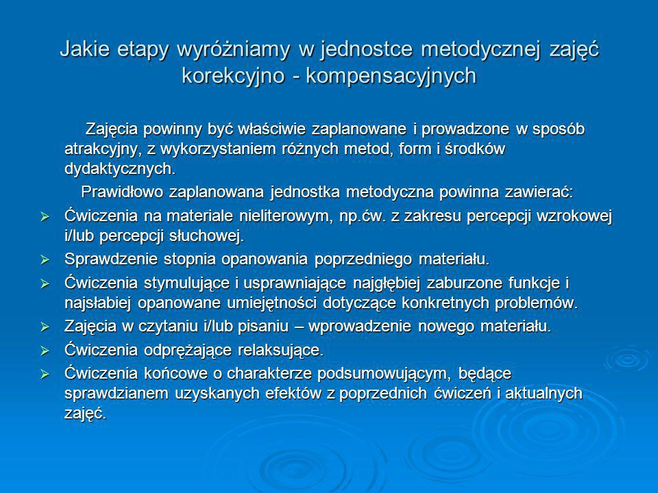 Jakie etapy wyróżniamy w jednostce metodycznej zajęć korekcyjno - kompensacyjnych