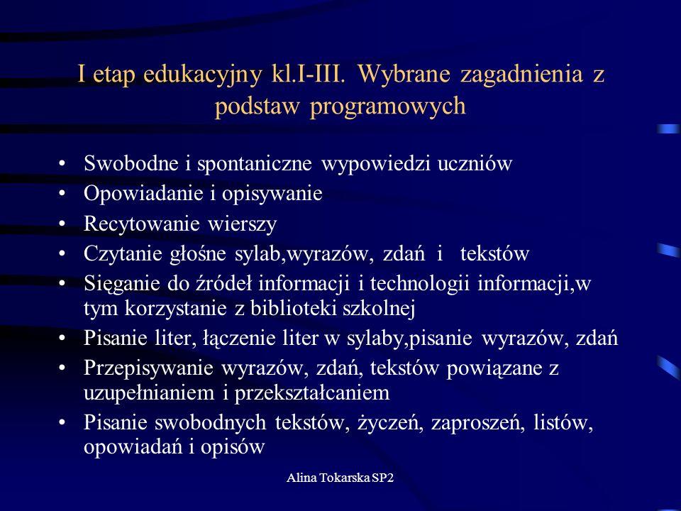I etap edukacyjny kl.I-III. Wybrane zagadnienia z podstaw programowych