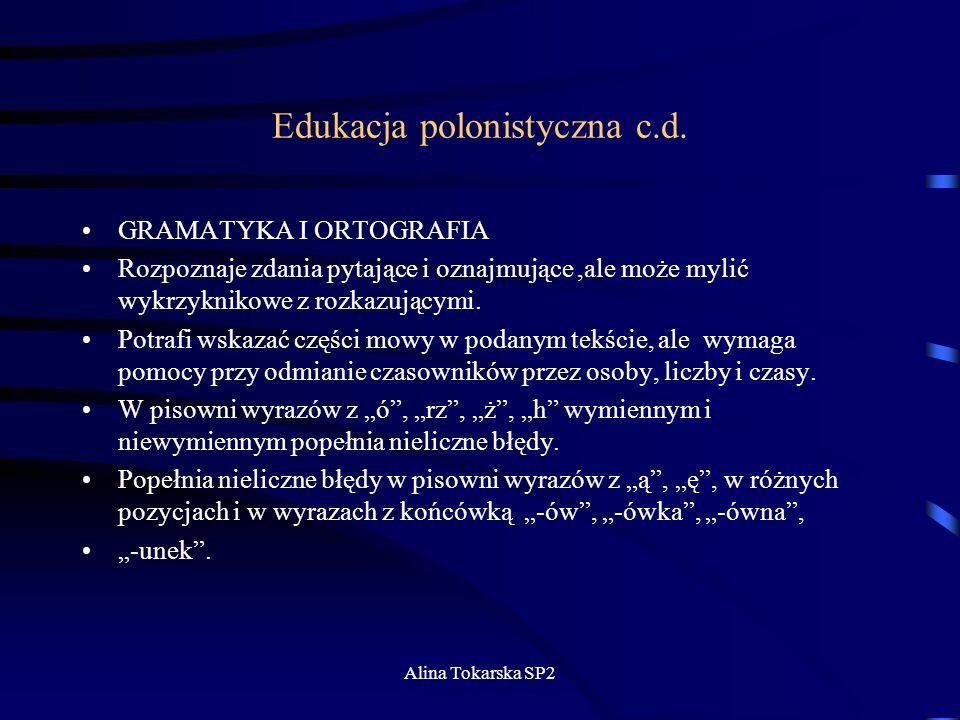 Edukacja polonistyczna c.d.