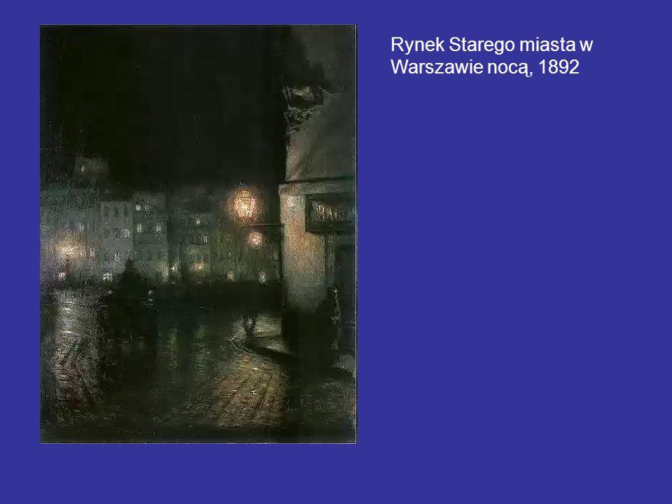 Rynek Starego miasta w Warszawie nocą, 1892