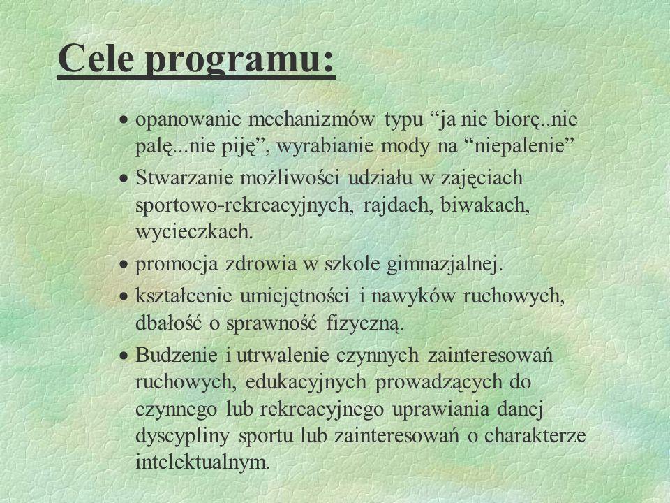 Cele programu:opanowanie mechanizmów typu ja nie biorę..nie palę...nie piję , wyrabianie mody na niepalenie