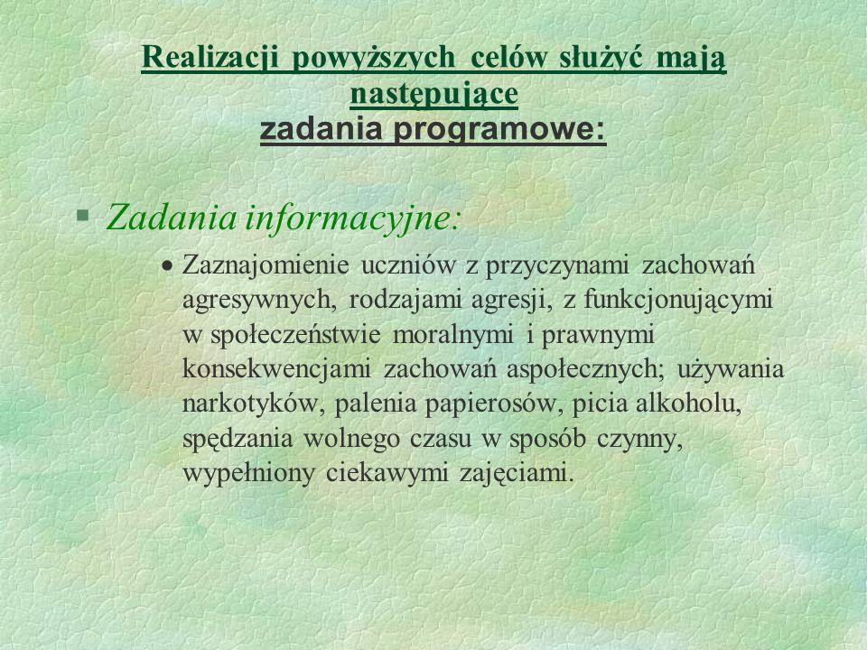 Zadania informacyjne: