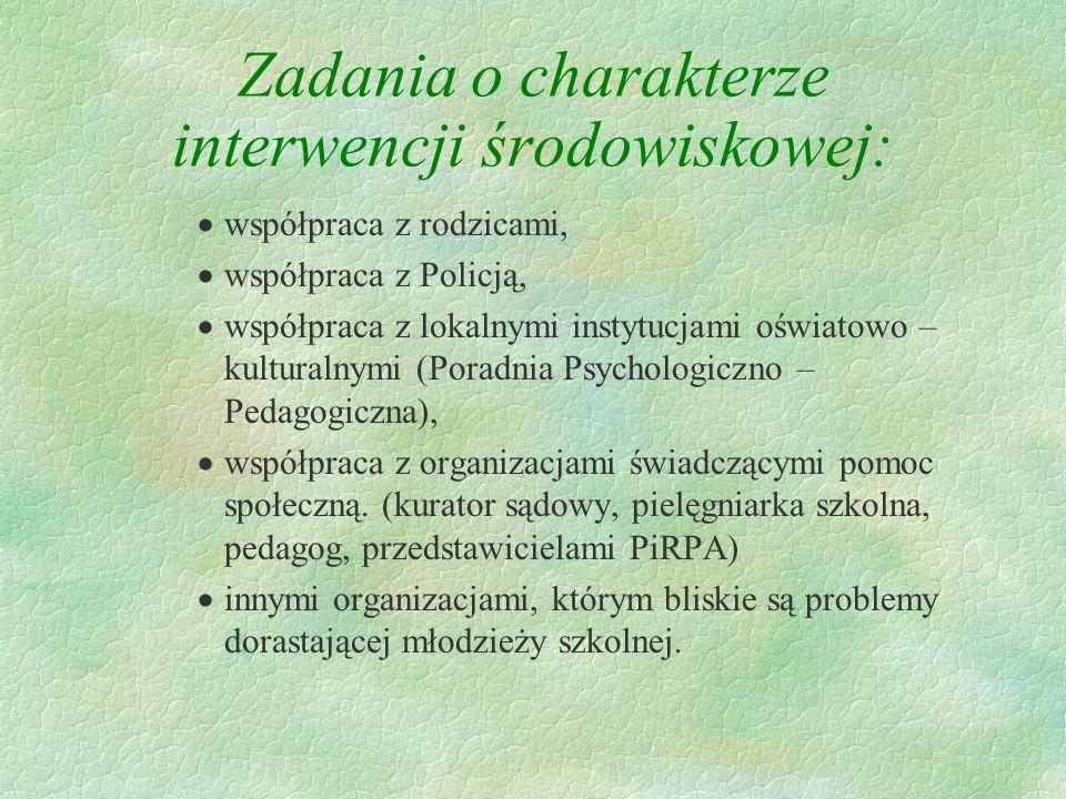 Zadania o charakterze interwencji środowiskowej: