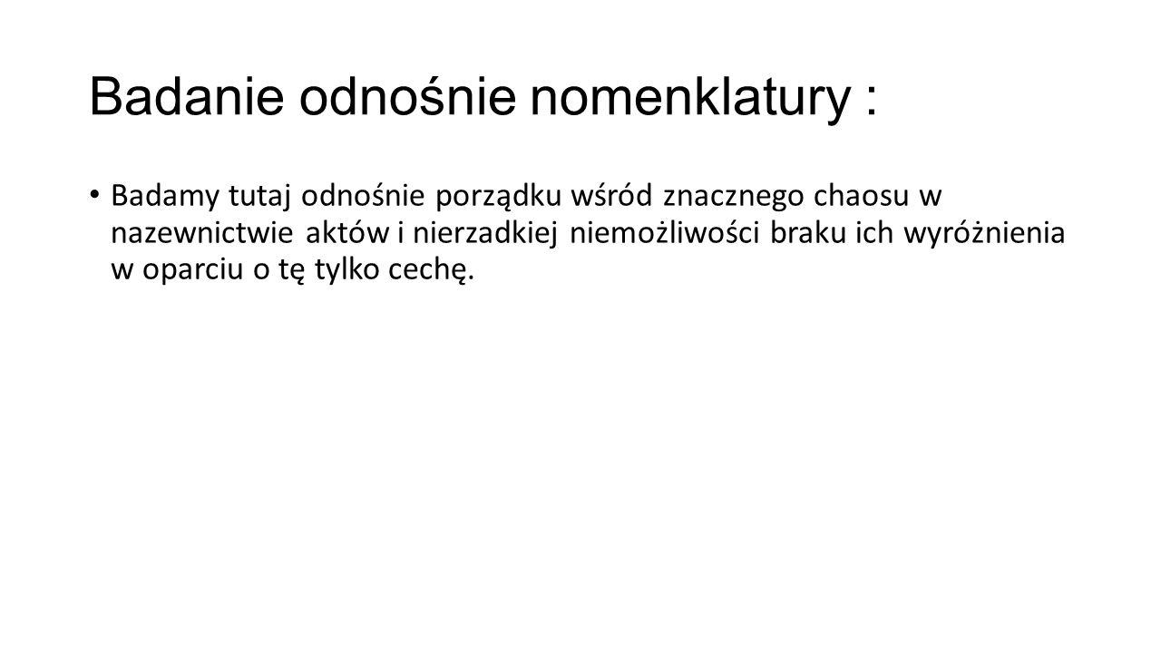Badanie odnośnie nomenklatury :