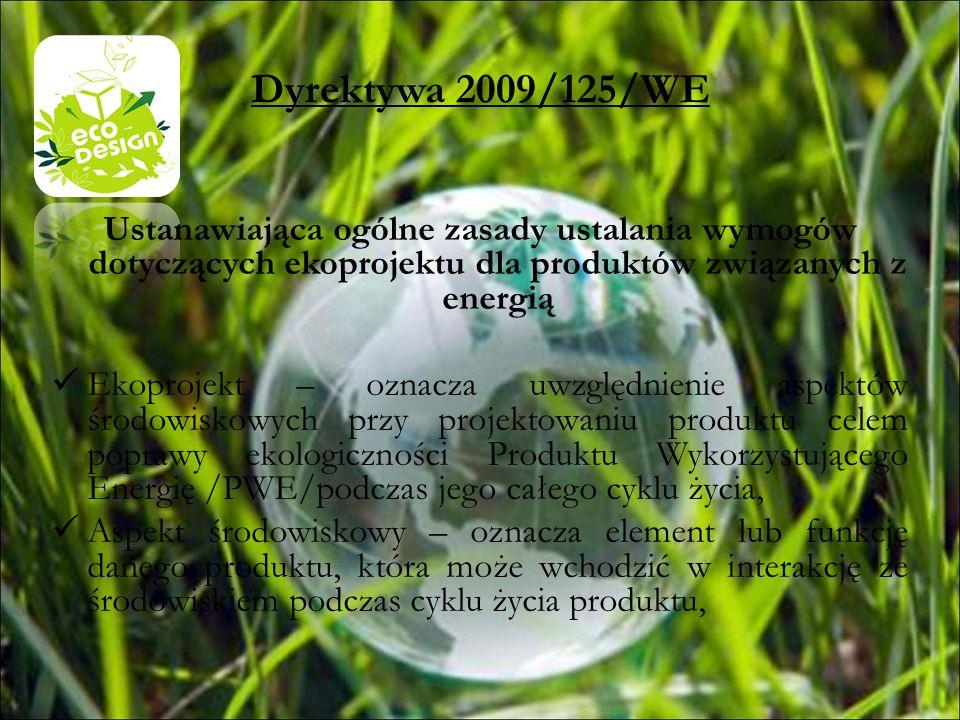 Dyrektywa 2009/125/WEUstanawiająca ogólne zasady ustalania wymogów dotyczących ekoprojektu dla produktów związanych z energią.