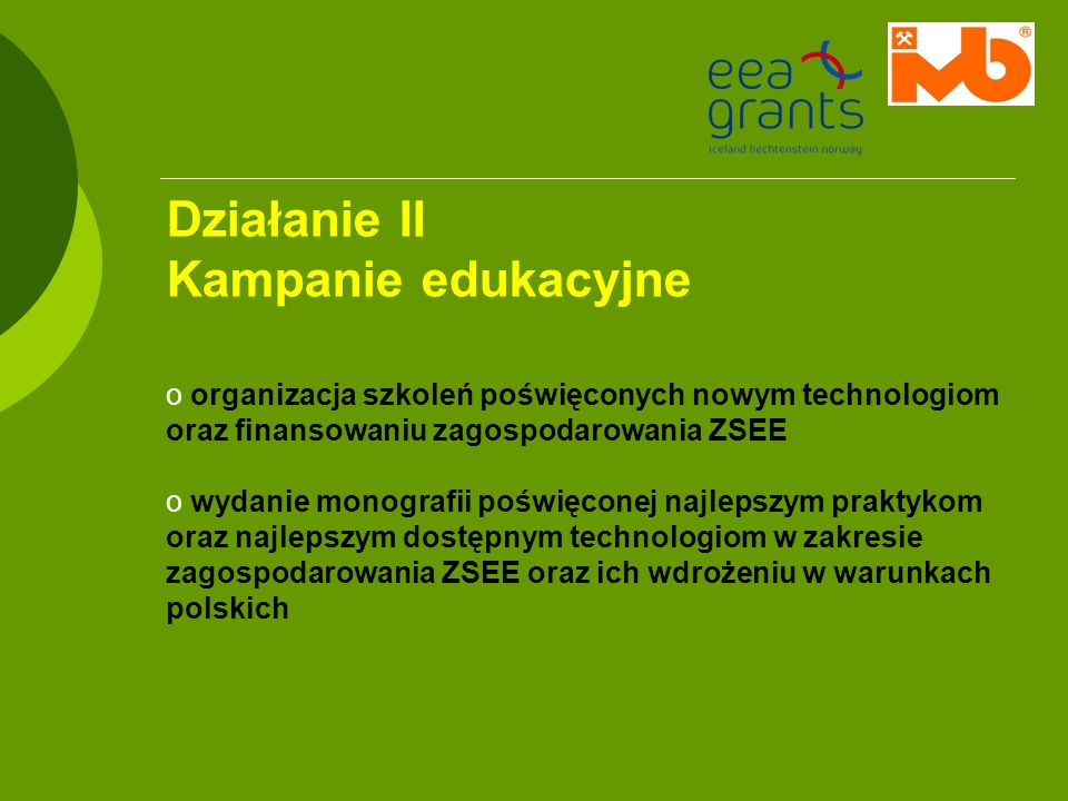Działanie II Kampanie edukacyjne