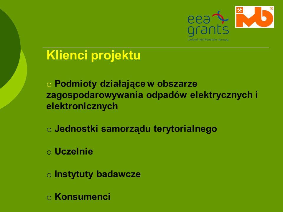 Klienci projektu Podmioty działające w obszarze zagospodarowywania odpadów elektrycznych i elektronicznych.