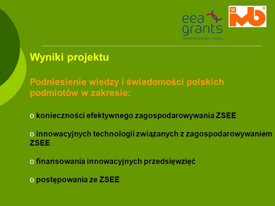 Wyniki projektuPodniesienie wiedzy i świadomości polskich podmiotów w zakresie: konieczności efektywnego zagospodarowywania ZSEE.