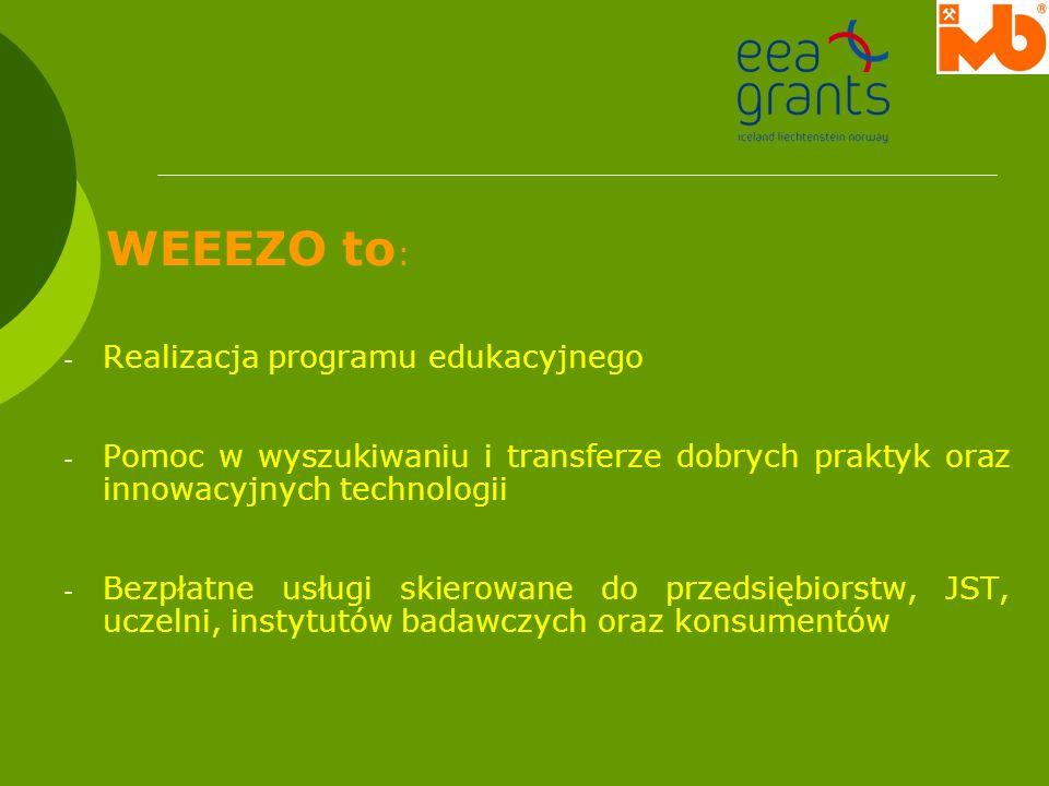 WEEEZO to:Realizacja programu edukacyjnego. Pomoc w wyszukiwaniu i transferze dobrych praktyk oraz innowacyjnych technologii.