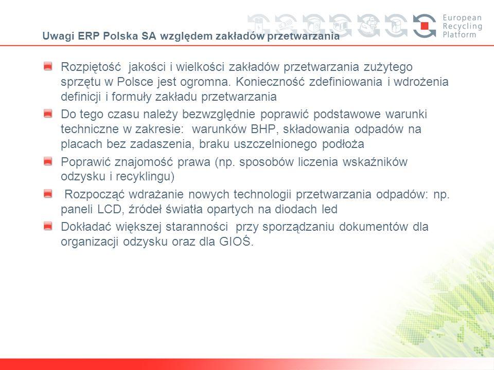 Uwagi ERP Polska SA względem zakładów przetwarzania