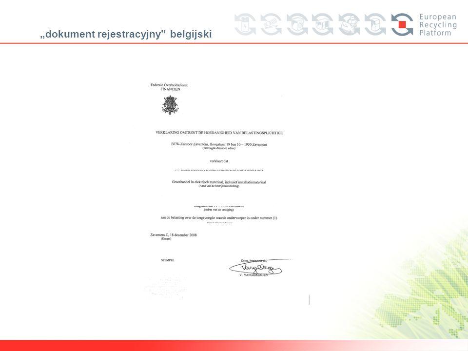 """""""dokument rejestracyjny belgijski"""