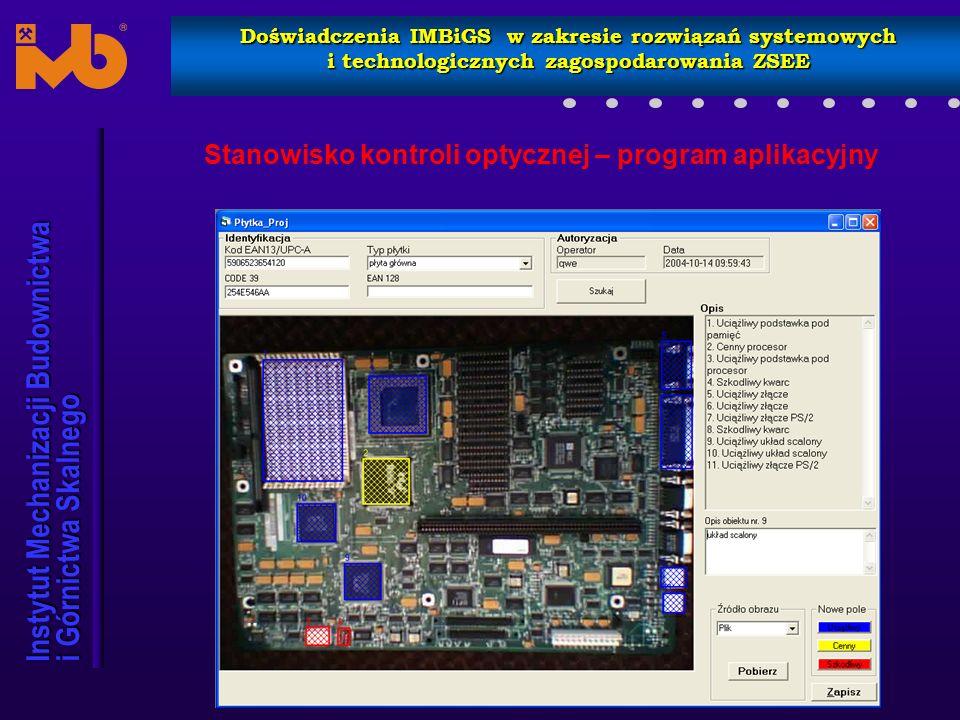 Stanowisko kontroli optycznej – program aplikacyjny