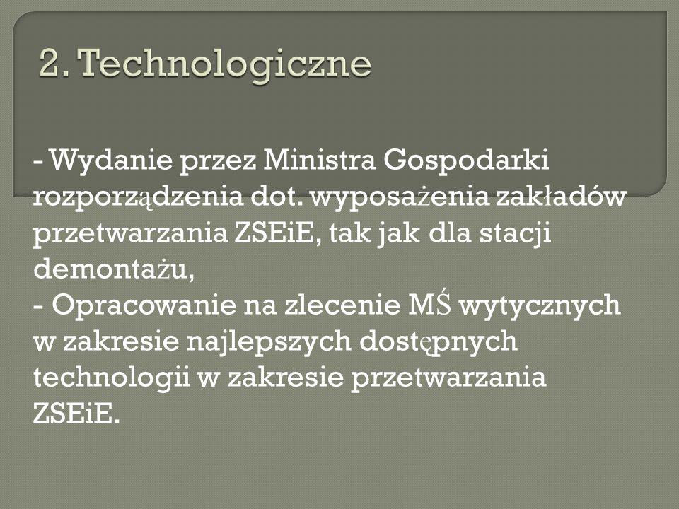 2. Technologiczne - Wydanie przez Ministra Gospodarki rozporządzenia dot. wyposażenia zakładów przetwarzania ZSEiE, tak jak dla stacji demontażu,