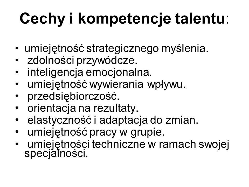 Cechy i kompetencje talentu: