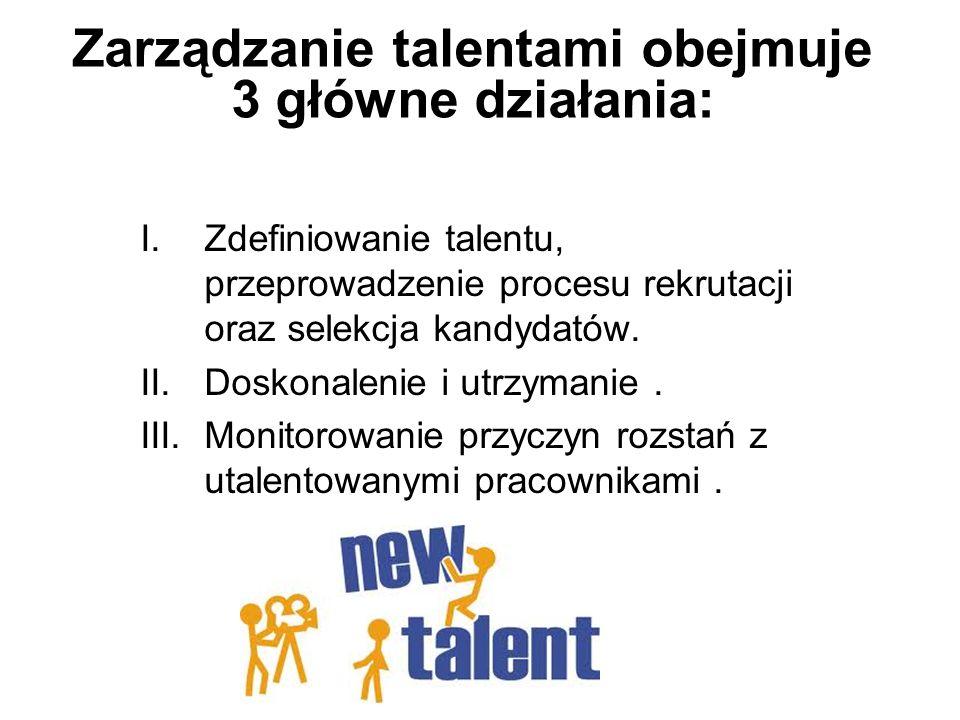 Zarządzanie talentami obejmuje 3 główne działania:
