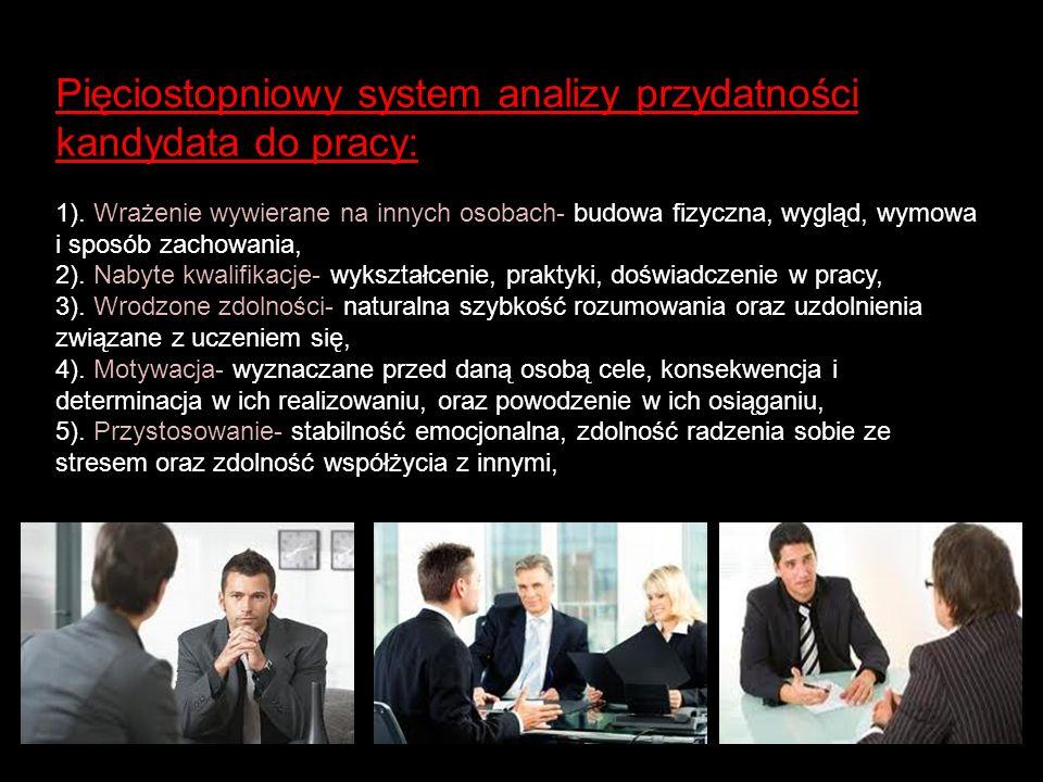 Pięciostopniowy system analizy przydatności kandydata do pracy: