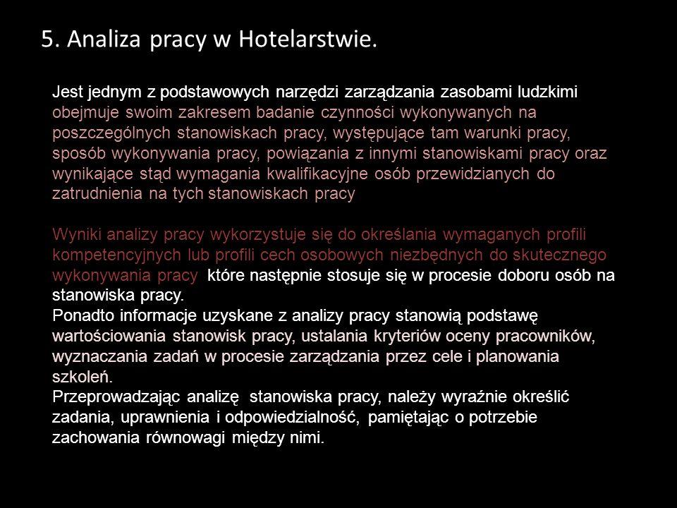 5. Analiza pracy w Hotelarstwie.