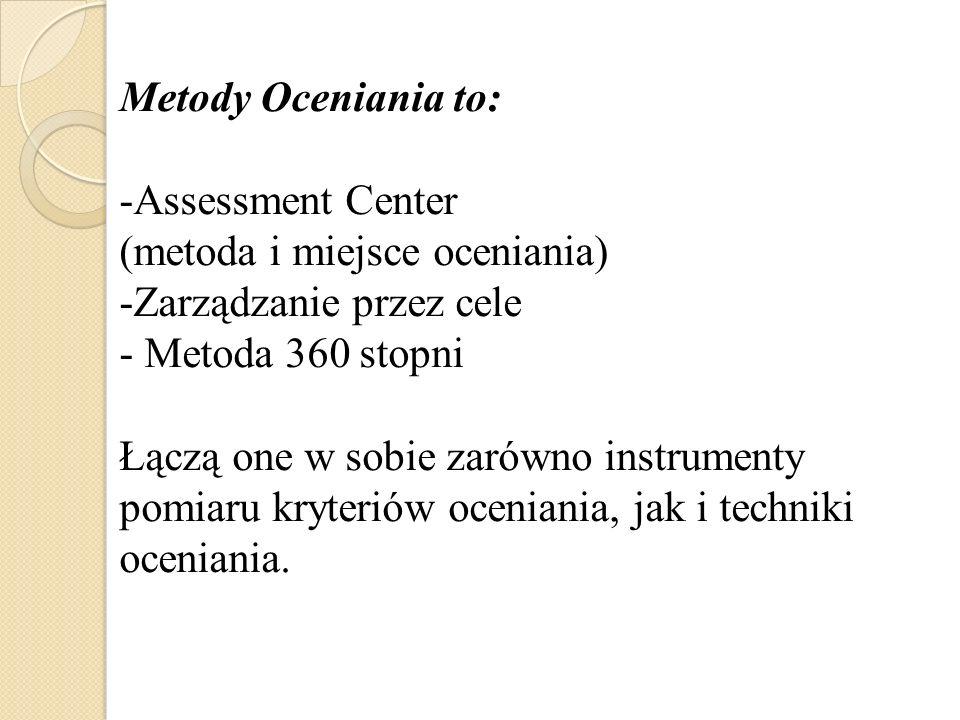 Metody Oceniania to: Assessment Center. (metoda i miejsce oceniania) Zarządzanie przez cele. Metoda 360 stopni.