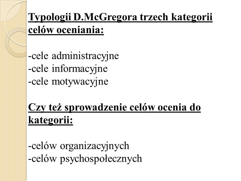 Typologii D.McGregora trzech kategorii celów oceniania: