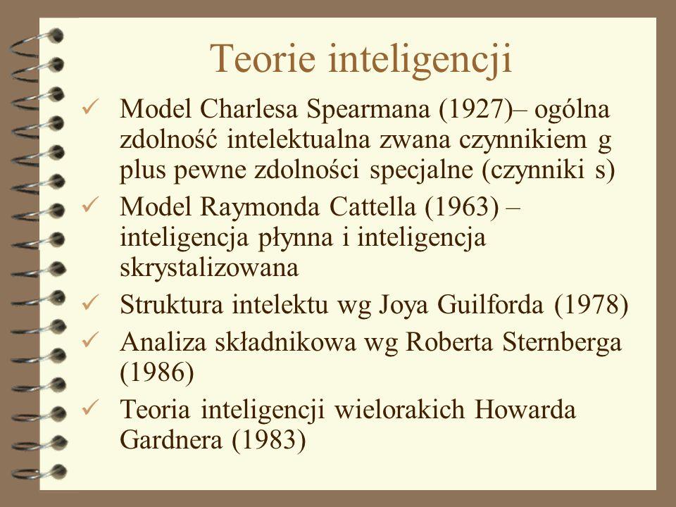 Teorie inteligencji Model Charlesa Spearmana (1927)– ogólna zdolność intelektualna zwana czynnikiem g plus pewne zdolności specjalne (czynniki s)