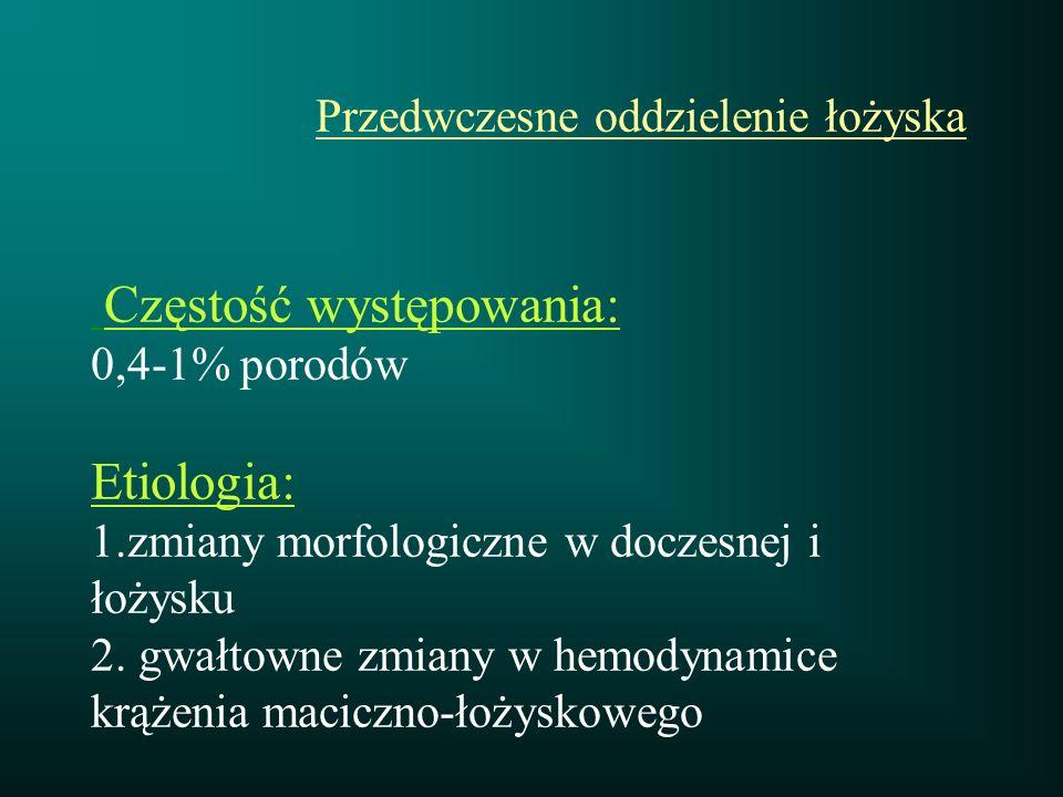 Przedwczesne oddzielenie łożyska Częstość występowania: 0,4-1% porodów Etiologia: 1.zmiany morfologiczne w doczesnej i łożysku 2.