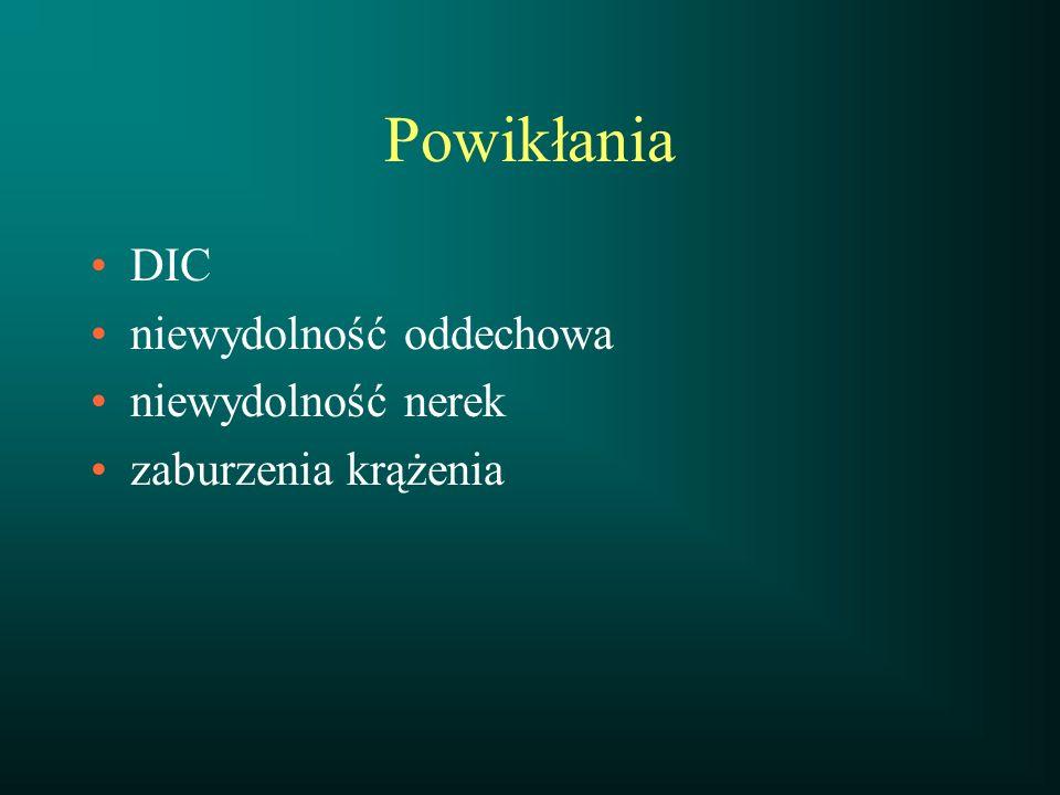 Powikłania DIC niewydolność oddechowa niewydolność nerek
