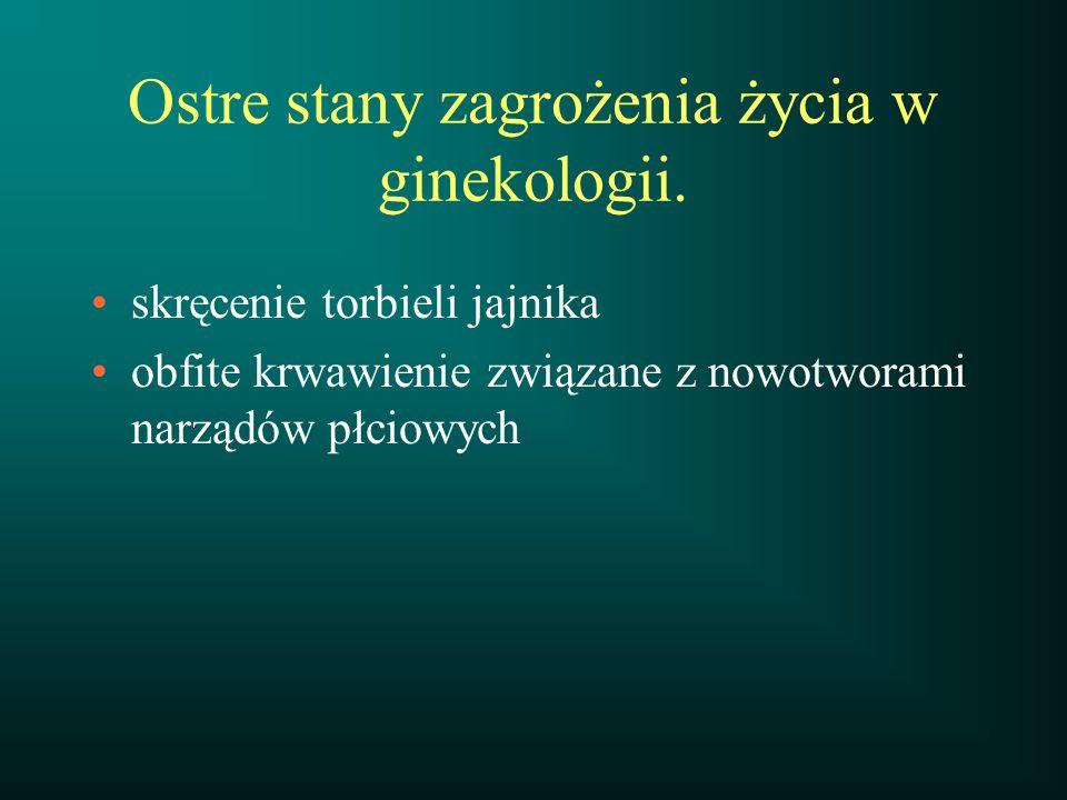 Ostre stany zagrożenia życia w ginekologii.