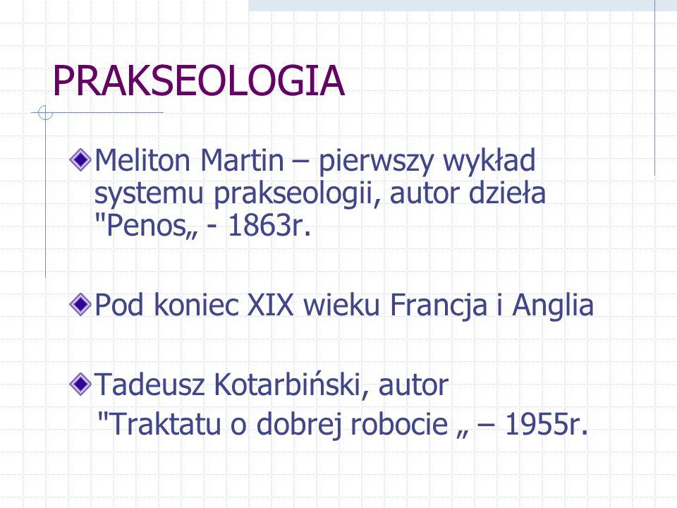 """PRAKSEOLOGIA Meliton Martin – pierwszy wykład systemu prakseologii, autor dzieła Penos"""" - 1863r. Pod koniec XIX wieku Francja i Anglia."""