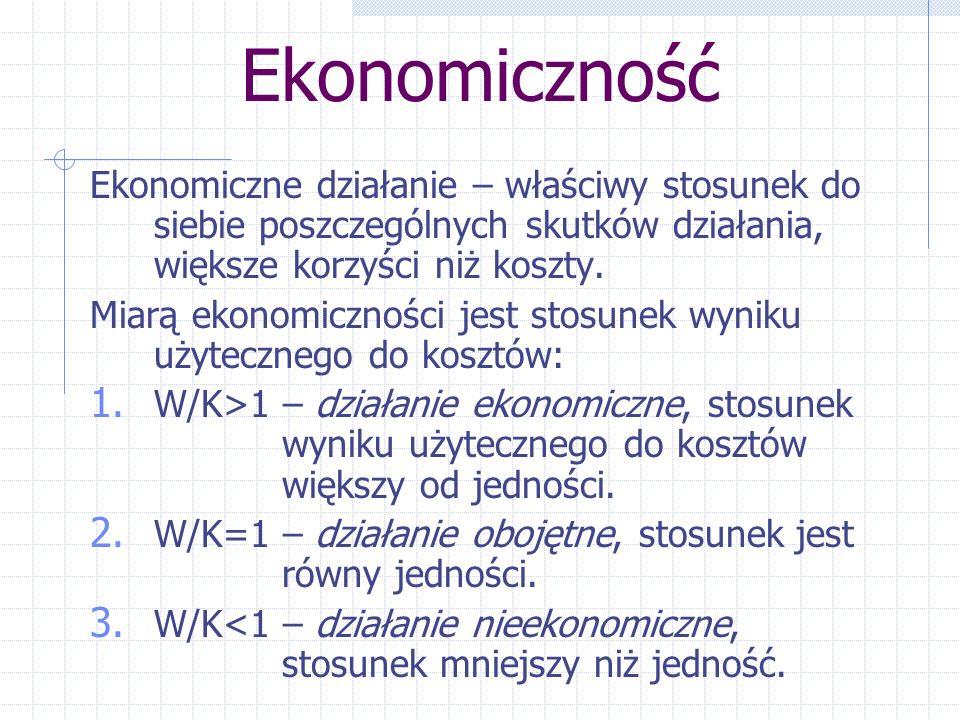 Ekonomiczność Ekonomiczne działanie – właściwy stosunek do siebie poszczególnych skutków działania, większe korzyści niż koszty.