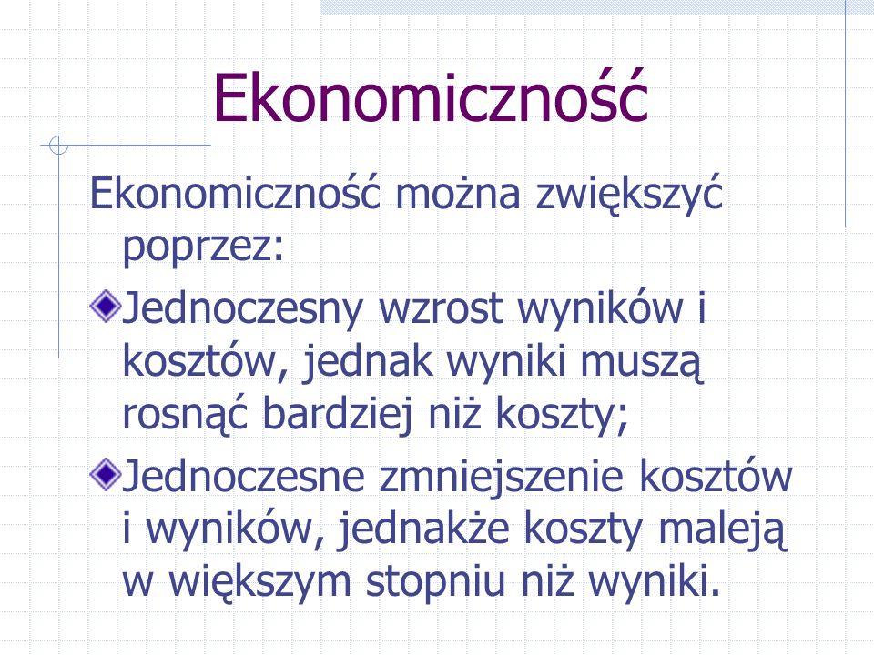 Ekonomiczność Ekonomiczność można zwiększyć poprzez: